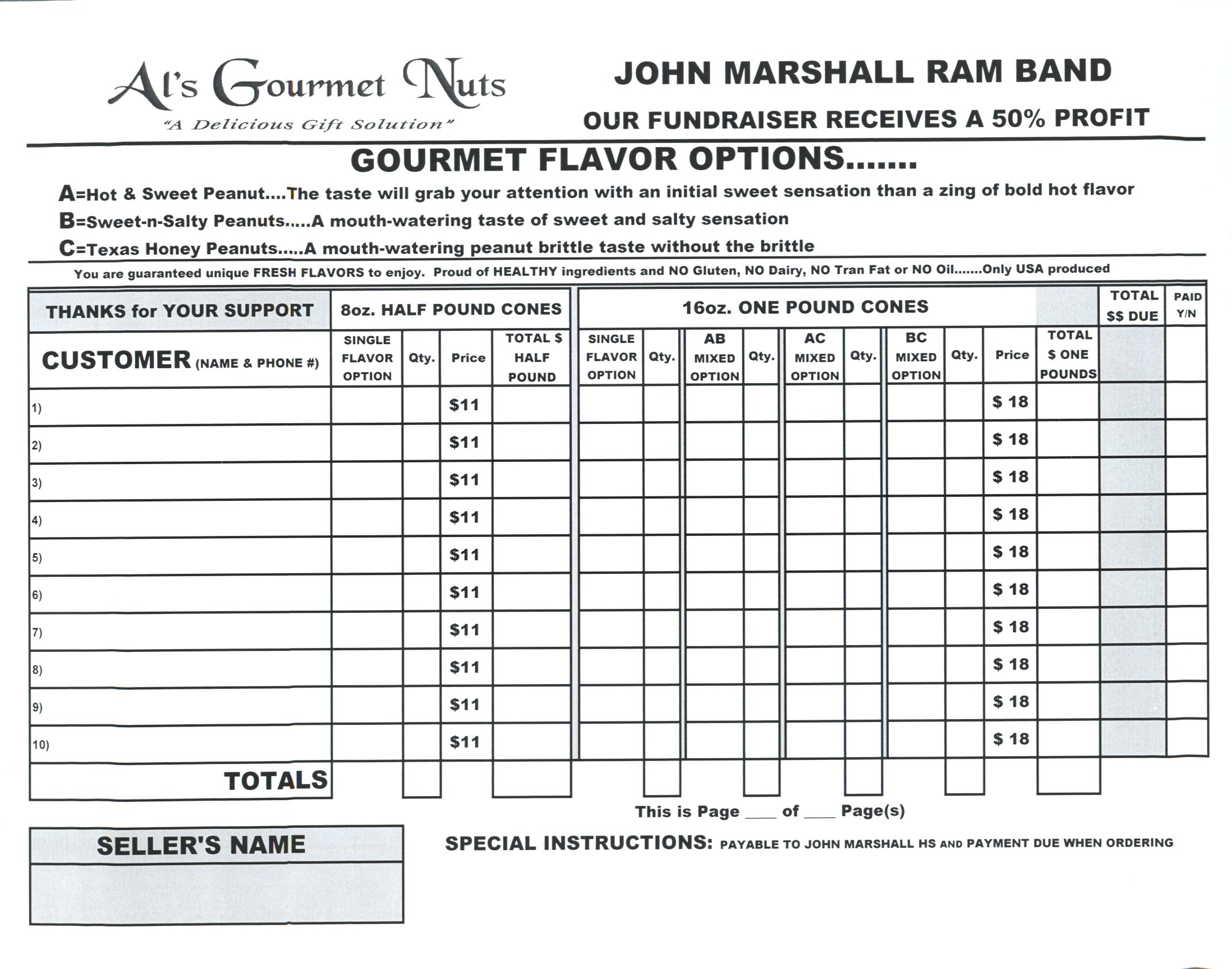 John Marshall Ram Band Custom Order Form 8-2016