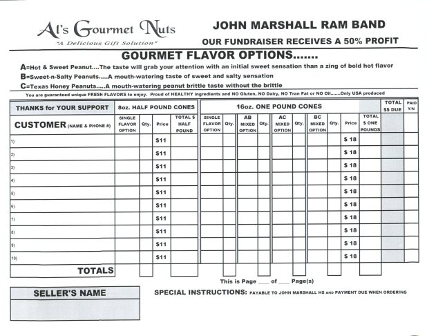 Al'S Gourmet Nuts Fundraiser Is Due Today!!! | The Mighty Ram Band